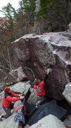 Rock Climbing Photo: Making the big move to the good edge.