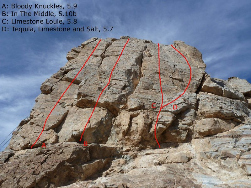 Moderate Crag. Cold Shoulder route is around the corner on the left (where the rope is). Route locations show just the general directions, but you can't get lost, just follow the bolts