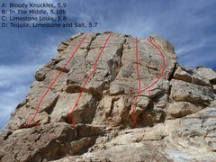 Rock Climbing Photo: Moderate Crag. Cold Shoulder route is around the c...