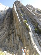 Rock Climbing Photo: The first pitch is directly above my backpack, the...