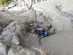Rock Climbing Photo: Starting the 5.11 finger section past the crux on ...