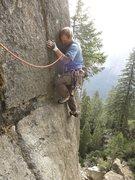 Rock Climbing Photo: Pitch 2 face traverse. 5.11c.