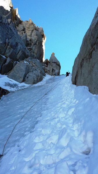 Rock Climbing Photo: 3rd pitch.  There was some snow collected on the R...
