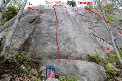Rock Climbing Photo: Mt. Oscar Entry Wall photo topo. [See the photo's ...