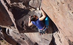 Rock Climbing Photo: Naomi pulls through the crux.