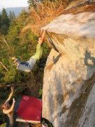 Rock Climbing Photo: Feet cutting loose on Tsunami.  Photo by Blue