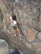 Rock Climbing Photo: Bryn Owen (10) working Pink Flamingo.