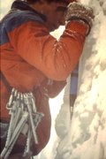 Rock Climbing Photo: Old school ice climbing.  Jim Knight with a rack o...
