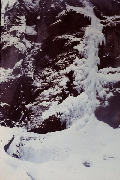 Bridalveil Falls, Telluride in 1977.<br>   <br> Drove from Rexburg, Idaho twice within a month to get this done.  We believed at the time it was within the first 10 or so ascents.  Pretty lean conditions.<br> <br> It was hard, really hard - and scary.  Jim Knight lead the difficult stuff.<br> <br> Jim was an excellent ice climber back in the day.  Probably still is.
