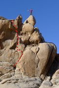 Laryngitis - low-angle dihedral and easy jugs until you get to the overhanging crux in the last 5 feet.