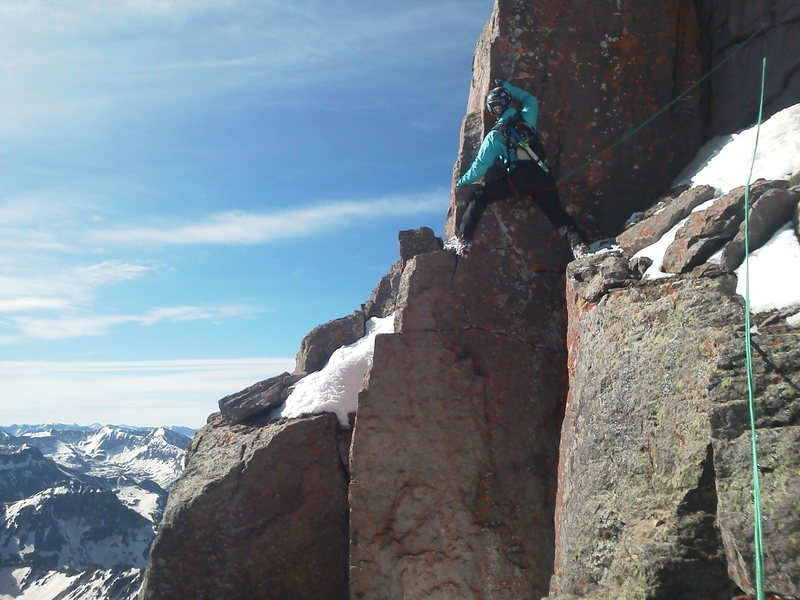 Rock Climbing Photo: Fike stepping out to the final verticalness below ...