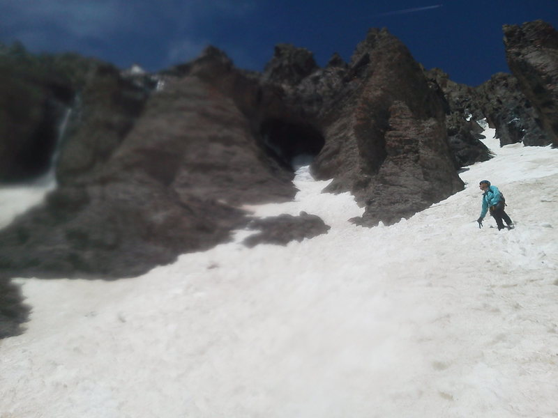Rock Climbing Photo: The exit couloir after downclimbing and traversing...
