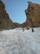 Rock Climbing Photo: Looking up the start of the couloir, which goes up...