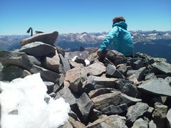 Rock Climbing Photo: Three feet of cold steel holding the summit cairn ...