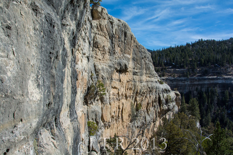 View of the Third Tier Wall.  Routes in view are  Spaceboy 5.10b TR, Fluffhead 5.11c, and Limeboy 5.12a