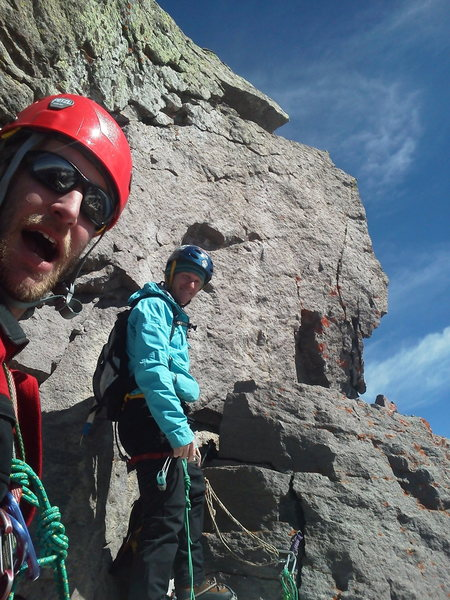 Rock Climbing Photo: Dallas Peak S Face.  Sling harnesses, bootied pro,...