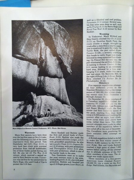 Devil's Lake DLFA feature in March/April 1982 Climbing Mag.
