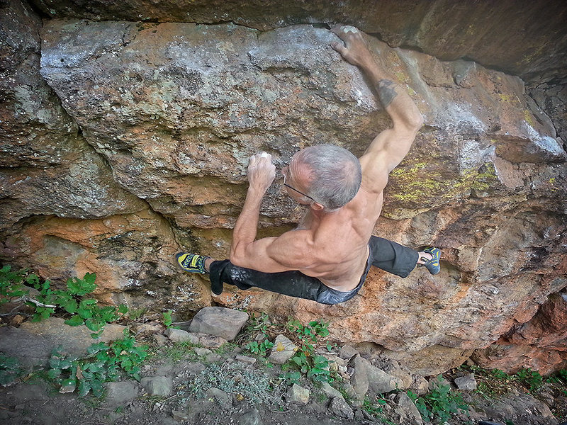 Rock Climbing Photo: East Draw Traverse with direct finish - V8.