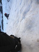 Rock Climbing Photo: Towards the top of the snow, heading up the center...