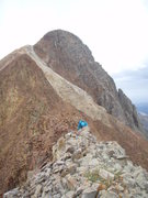 Rock Climbing Photo: Looking west up the East ridge to the summit of Me...