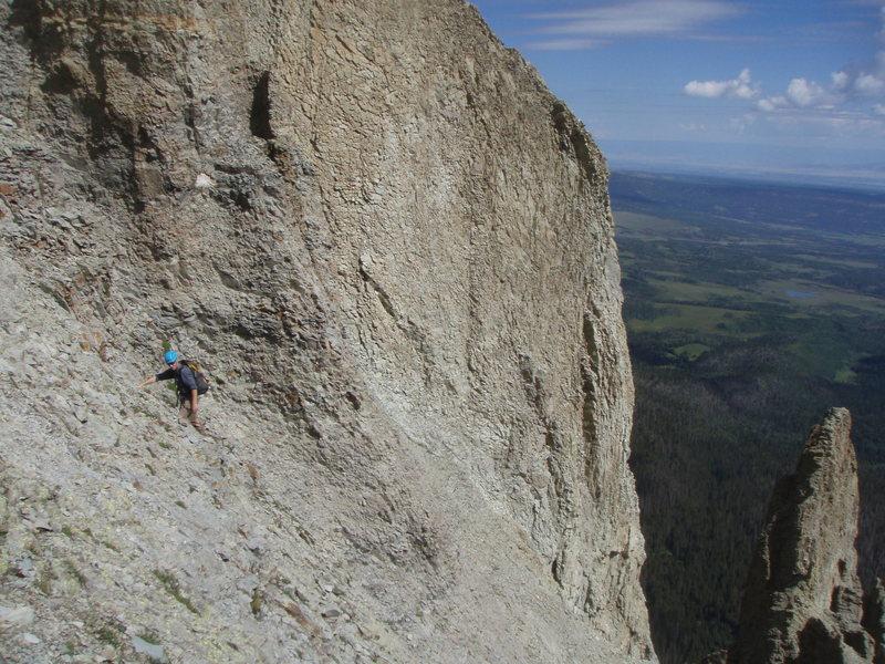 Rock Climbing Photo: Steep scree below the shoulder.  The North ridge b...