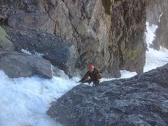 Rock Climbing Photo: Alpine ice low in the couloir.