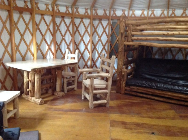 yurt bunks and kitchen table.