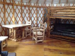 Rock Climbing Photo: yurt bunks and kitchen table.