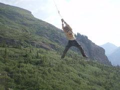 Rock Climbing Photo: Takin flight on the 'sky swing'