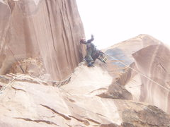Rock Climbing Photo: top pitch of Playin Hooky, Moab