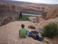 Rock Climbing Photo: This young blonde Moab local did a double-gainer s...