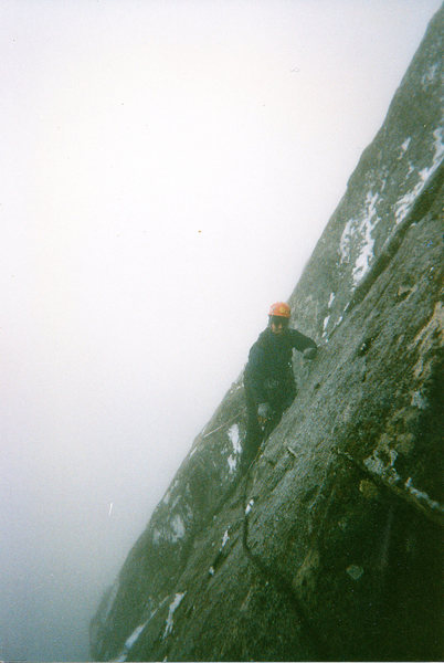 Chris Harris leading icy slabs to top out upper pitches.  Sufferfest.