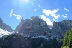 Rock Climbing Photo: Bruneckerturm on the skyline and N.E. Sella massif...