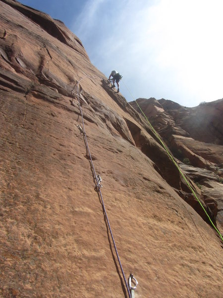 Josh on pitch 1 of Touchstone Wall