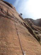 Rock Climbing Photo: Josh on pitch 1 of Touchstone Wall