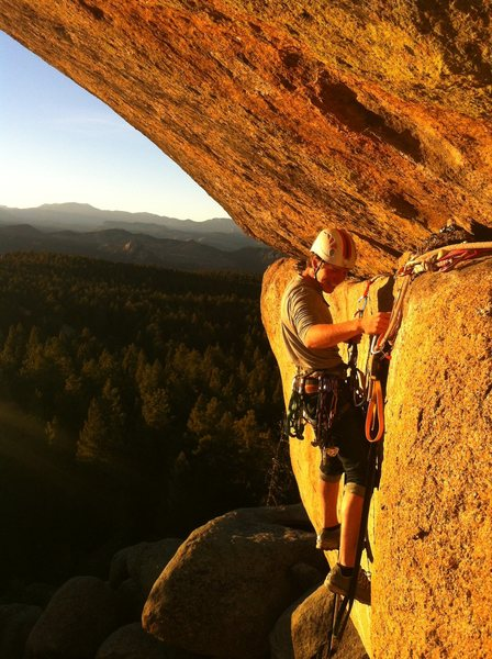 Eddie re-aiding to clean the route during the golden hour. Beautiful evening in the SPlatte.
