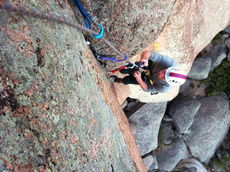 Eddie cleaning the final vertical section. DG's Nose. South Platte, CO.