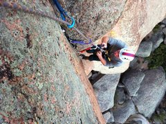 Rock Climbing Photo: Eddie cleaning the final vertical section. DG's No...