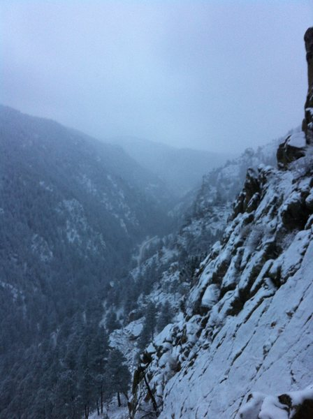 Looking up canyon from the top of a snowy second pitch. Y&R, Boulder Canyon, CO.