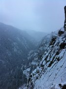 Rock Climbing Photo: Looking up canyon from the top of a snowy second p...