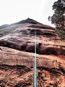Rock Climbing Photo: Looking up from the base of Touchstone Wall. Me on...