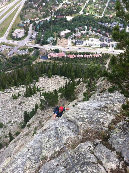 James climbing high above Frisco on the route Royal Flush. Fun day!