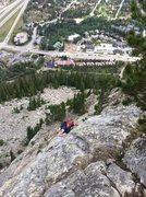 Rock Climbing Photo: James climbing high above Frisco on the route Roya...