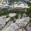 James climbing high above Frisco on the route Royal Flush. Fun day!