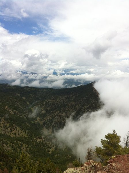 "From the summit of Bear Peak. Cool cloud ""eddy"" due to the high winds visible."