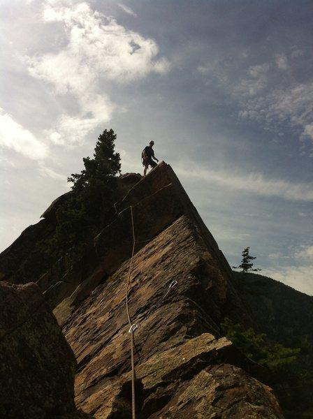 Rock Climbing Photo: Eddie on the summit. What a route!