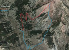 Rock Climbing Photo: General route outline. Red up, blue down.