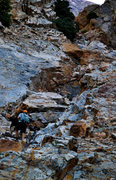 Rock Climbing Photo: Starting up the gully. Not the place to be when it...