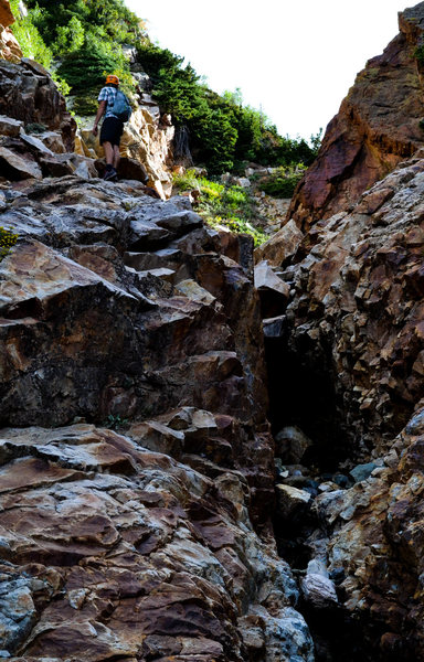 Rock Climbing Photo: One of the many small rock steps in the gully lead...