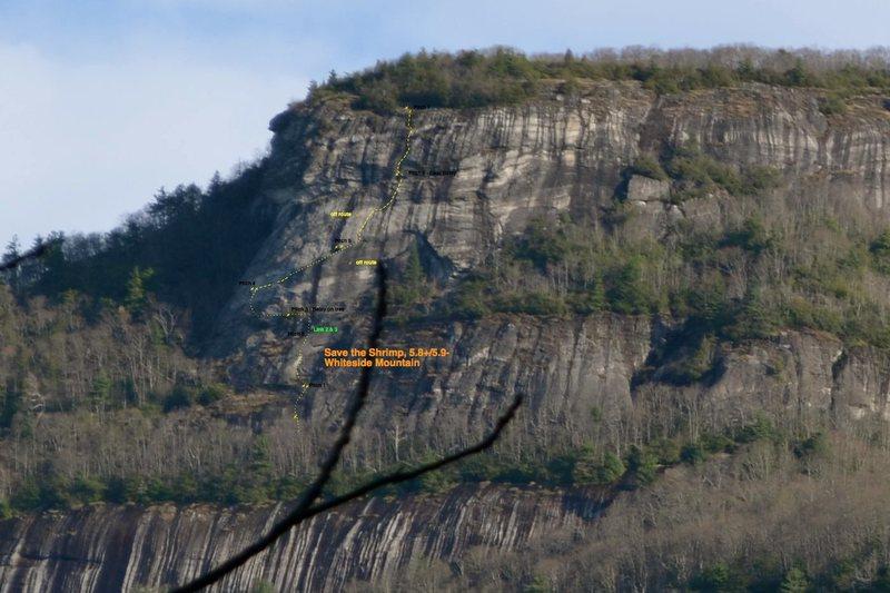 Rock Climbing Photo: Save the Shrimp, Whiteside Mtn, NC